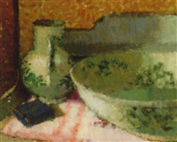 still life with blue and white jug and bowl by george kennerley