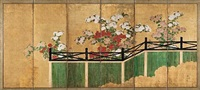 chrysanthemums and bamboo fence (on 6 panel screen) by japanese school-rimpa (19)
