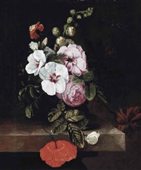 roses, poppies, hollyhocks, a marigold and other flowers in a glass jug, with a dragonfly and a cabbage white butterfly on a stone ledge by cornelis kick