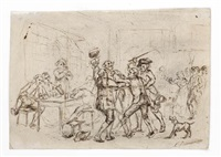 a brawl in a tavern (double-sided) by léon marie constant dansaert