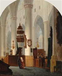 church interior by adrianus wilhelmus nieuwenhuyzen