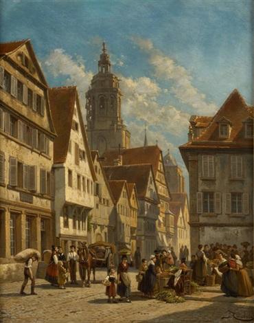 vue du marché de winttenberg by jacques françois carabain