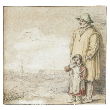 a man and an eating child in a landscape a village to the left by hendrick avercamp