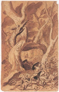 a warrior attacking a dragon by sir james thornhill