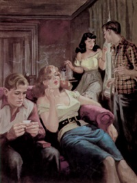 teenagers warily smoking marijuana by howell dodd