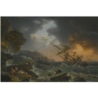 a storm at sea with a shipwreck off the coast and drowning figures in the foreground by jean françois foucher