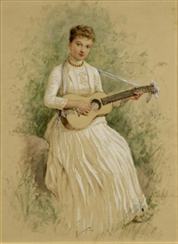 portrait of a seated woman playing a guitar by jennie augusta brownscombe