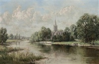 a country church by a river by rowland hill
