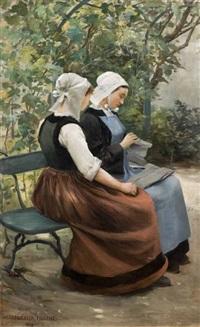 jeunes bretonnes à la couture sur un banc by marguerita pillini