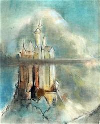 een kasteel, mogelijk betreft het schloss neuschwanstein by han van meegeren