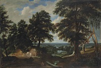 an extensive wooded landscape, with the conversion of saint hubert in the foreground by jacques d' arthois