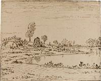 a riverside landscape by théodore rousseau