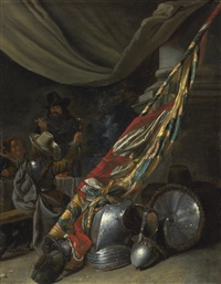 guardroom interior with armour and a standard behind by jan-baptist tyssens