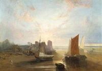 a coastal scene with figures by beached fishing boats in the foreground by john wright oakes