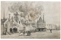 the fire in the nieuwe kerk, amsterdam, in 1645 by egbert lievensz van der poel
