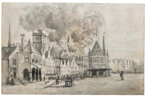 the fire in the nieuwe kerk amsterdam in 1645 by egbert lievensz van der poel