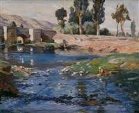 paisaje castellano con rio by marceliano santamaria y sedano
