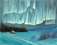 northern lights above a cabin in winter by jeanne laurence