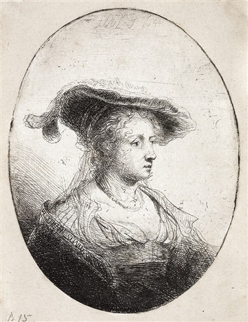 bust of a young lady with a plumed cap saskia  by ferdinand bol