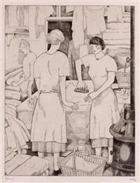 les blanchisseuses (+ la repasseuse; set of 2) by jean-emile laboureur