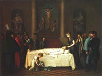the corpse of prince louis ferdinand of prussia laid out in the johanniskirche, saalfeld in thuringia on the 11th october, 1806 by wilhelm friedrich heinrich herbig