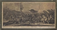 battle scene (4 works) by georg philipp rugendas the elder
