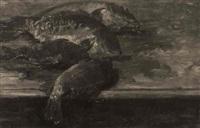 stilleben mit vier karpfen auf einem tisch by hans heider
