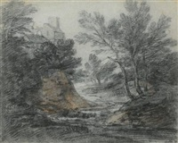 wooded landscape with a building and stream by thomas gainsborough
