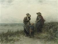 fisherwomen waiting in the dunes by elchanon verveer