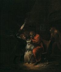 eine katze wird von einem affen entlaust by egbert van heemskerck