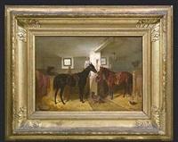 stallinterieur mit gesattelten pferden by franz adam