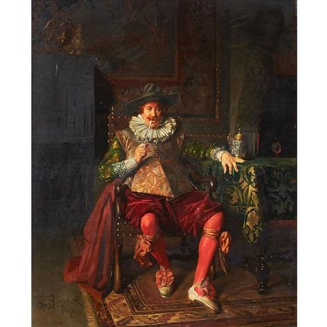 cavalier relaxing by bernard louis borione