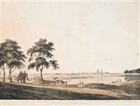 part of the black town, madras; the government house, fort st. george; the armenian bridge, near st. thomas's mount, madras (3 works) by thomas daniell