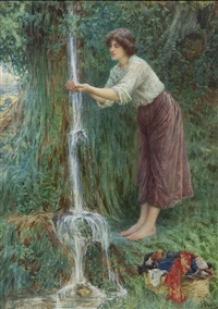 young lady with waterfall by giuseppe aureli