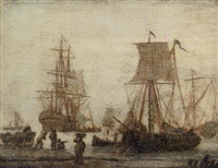 shipping in a harbour with figures in a shore by adriaen van salm