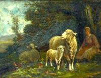 jeune bergère et ses moutons by raymond desvarreux-larpenteur