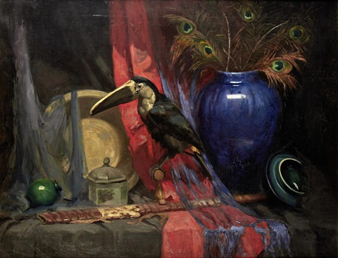 still life with toucan and blue vase by anna airy