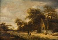 holländische landschaft mit bauernkate und breitem weg by roelof van vries