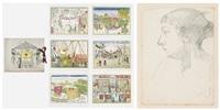 portrait de nel & carrousels et baraques; album w/6 engravings (7 works total) by edgard tytgat