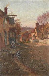 walking on the village path by blandford fletcher