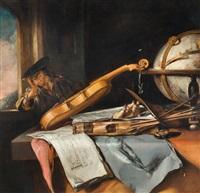 vanitas-stillleben mit nachdenkendem jungen mann by samuel van hoogstraten