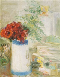 still life with poppies in a blue and white pitcher by florence engelbach