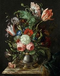 blumen in versilberter metallvase by willem frederik van royen