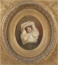 portrait einer jungen dame als halbakt by louis emile pinel de grandchamp