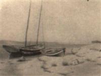 coastal scene with boats by william moore davis