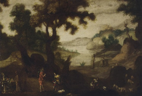 a landscape with monks, travellers, a fruit seller and a shepherd and his flock by ignacio de iriarte