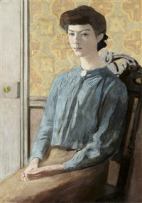 jeune fille au corsage bleu by jules léon flandrin