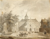 a neoclassical building on a square (after jan van der heijden) by reinier vinkeles