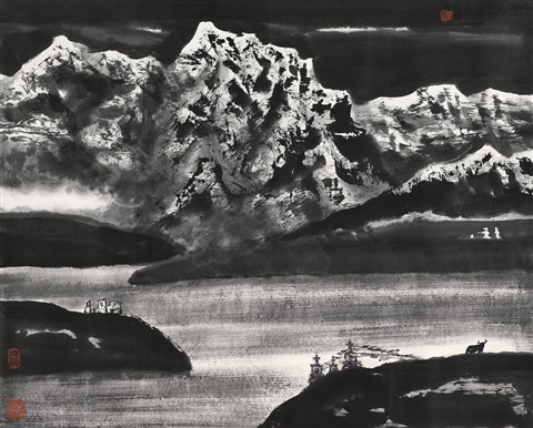 湖山 lake and mountain by li xiaoke