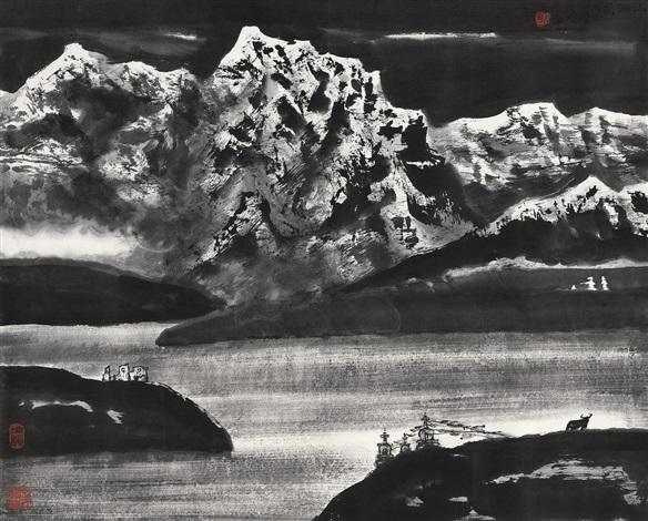 湖山 lake and mountain by li xiaoke